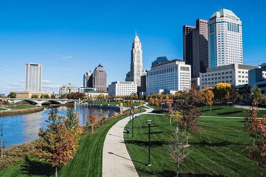 Ohio And Indiana - Skyline View Of Columbus Ohio On Warm Sunny Day